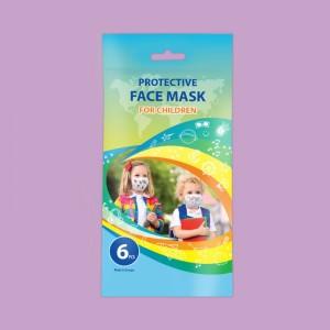 Маски за лице детски, опаковка от 6 бр. с различни картинки